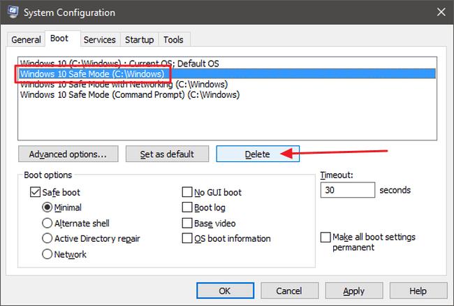 Hướng dẫn đưa Safe Mode vào Menu khởi động chuẩn trên Windows 8 và 10