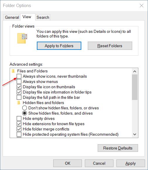 Cách sửa lỗi ảnh thumb không hiển thị trên File Explorer Windows 10