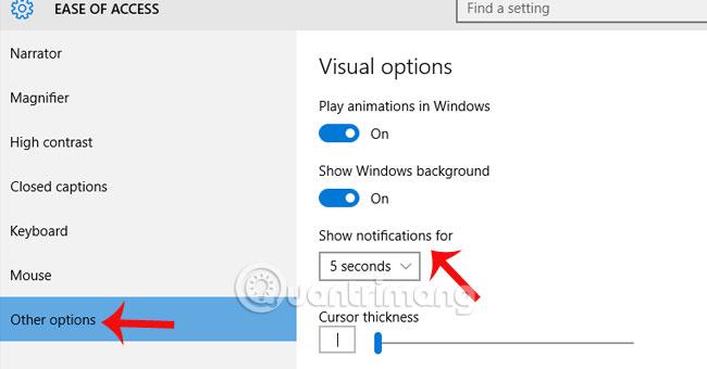 Thay đổi thời gian hiện thị thông báo trên Windows 10