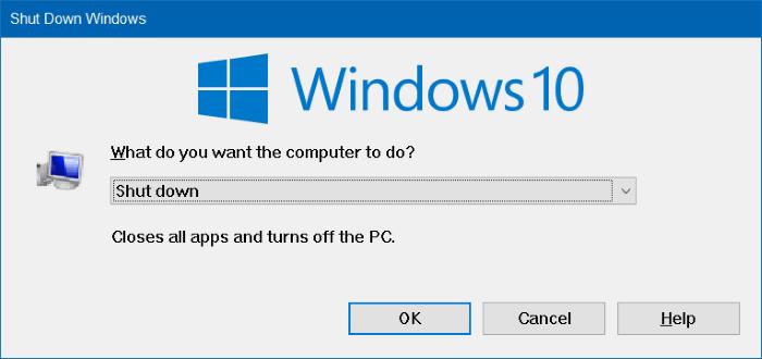 Phím tắt khởi động Windows 10 ở chế độ Hibernate hoặc tắt nhanh chóng
