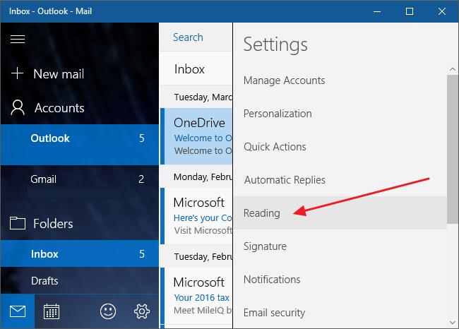 Vô hiệu hóa Conversation View trên ứng dụng Mail Windows 10