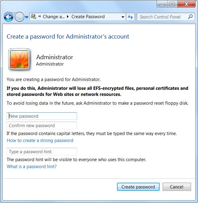 tạo mật khẩu cho tài khoản Admin