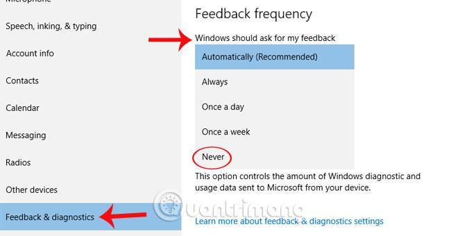 Cách tắt thông báo hỏi phản hồi trên Windows 10