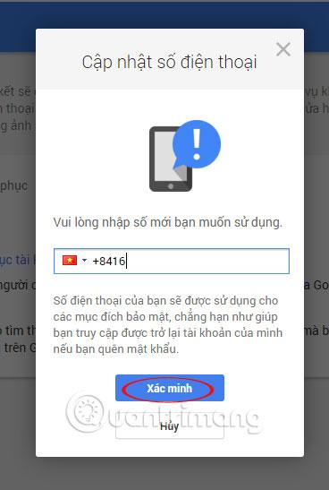 Hướng dẫn xóa, thay đổi, thêm số điện thoại trong Gmail
