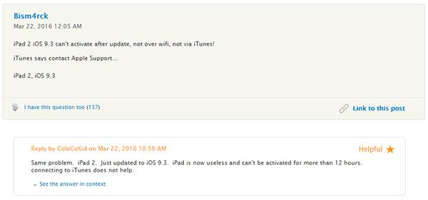 Không thể active iPad sau khi nâng cấp iOS 9.3. Đây là cách khắc phục