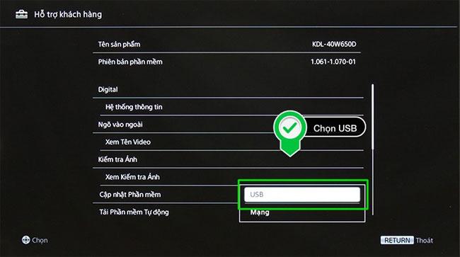 Cách cập nhật phần mềm cho Internet tivi Sony W650D