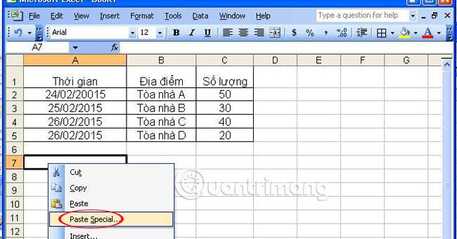 Hoán chuyển dòng thành cột trong Excel