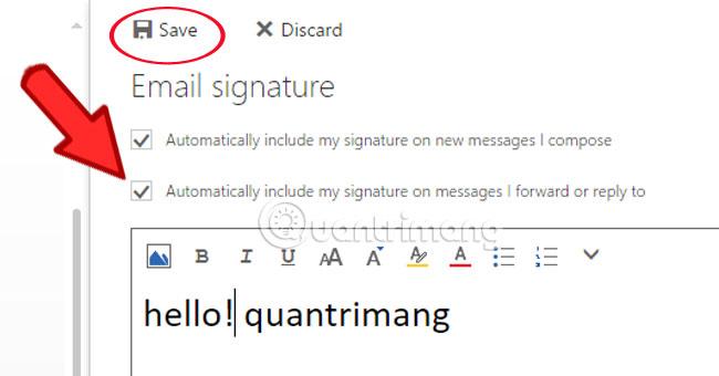 Cách tạo chữ ký Hotmail trong thư Hotmail