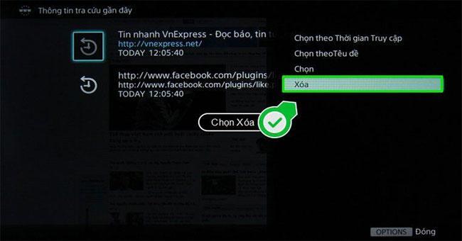 Cách xóa lịch sử trình duyệt Web trên Sony Smart tivi