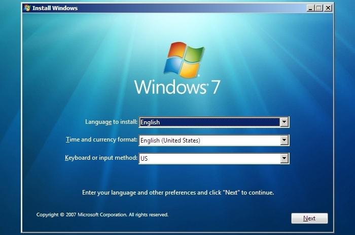 giao diện Install Windows