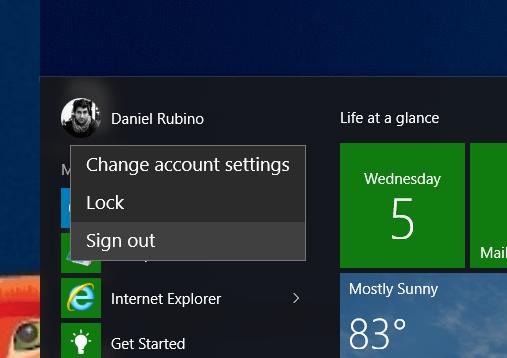 Đăng xuất Windows 10