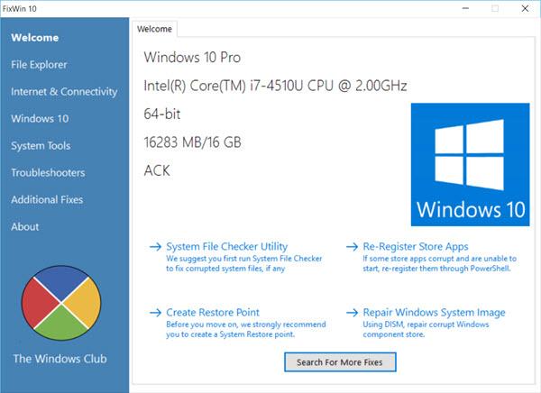 FixWin cho Windows 10