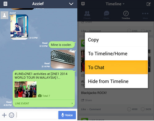 Chia sẻ update Timelines trong Chat