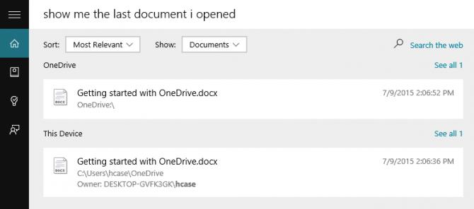 Thủ thuật tìm kiếm File bằng Cortana trên Windows 10