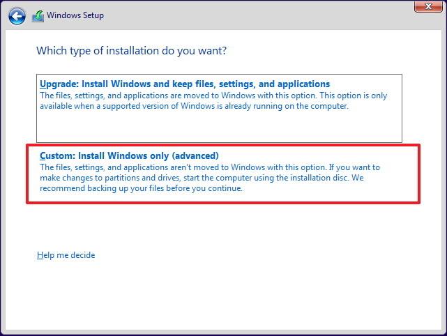 chọn Custom: Install Windows only (advanced).