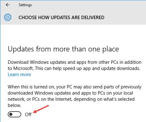 chuyển đổi tính năng Windows Delivery Optimization sang OFF