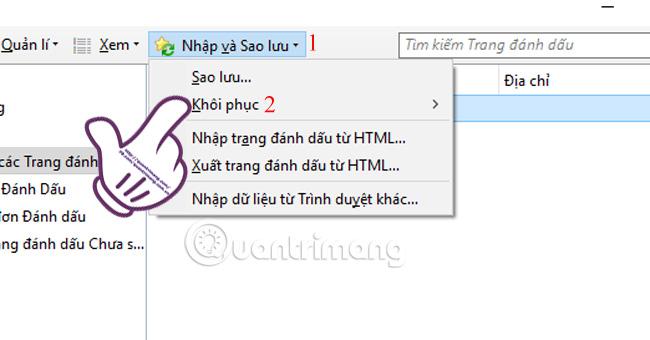 Cách khôi phục bookmark trên Firefox