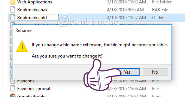 Cách khôi phục bookmarks trên Google Chrome
