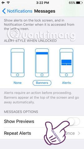 Cách tắt chế độ hiển thị nội dung tin nhắn trên iPhone