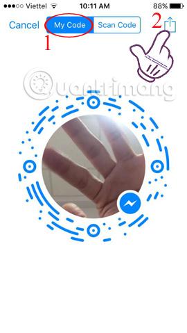 kết nối bạn bè trên Facebook Messenger bằng mã Code