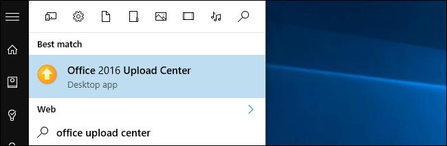 nhập từ khóa Office Upload Center vào khung Search trên Start Menu