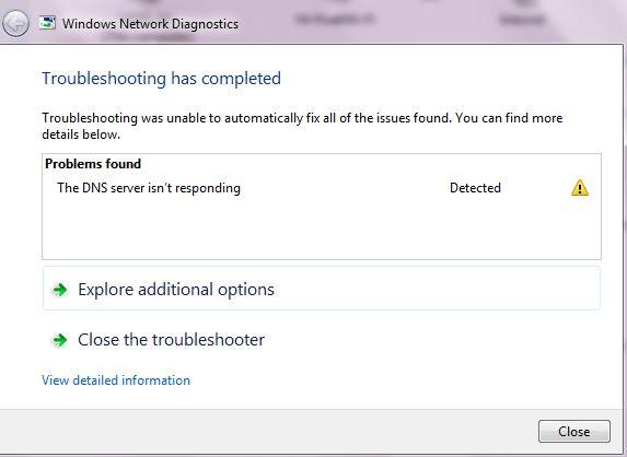 Lỗi DNS Server Not Responding
