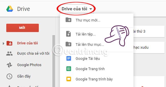 lưu trữ dữ liệu trực tuyến trên Google Drive