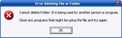 Thông báo lỗi khi xóa file