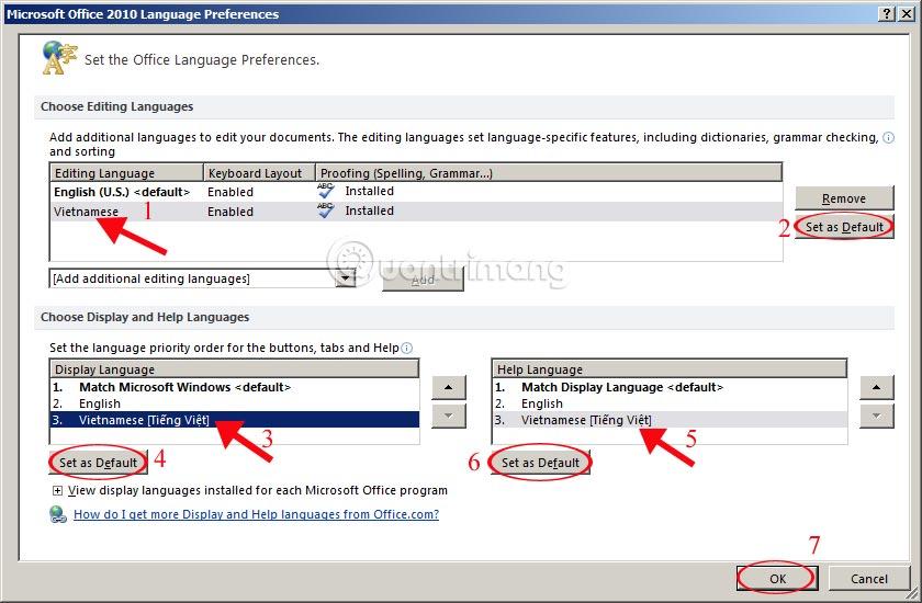 Microsoft Office 2010 Language Preferences