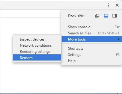 Tiếp theo click chọn More Tools rồi chọn Sensors