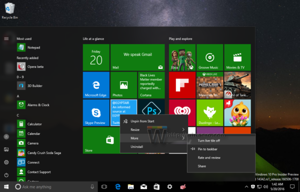 Vô hiệu hóa tất cả Live Tile cùng lúc trên Start Menu Windows 10