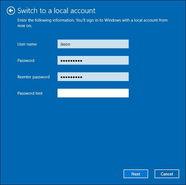 Hướng dẫn chuyển tài khoản Microsoft sang tài khoản Local trên Windows 10/8.1