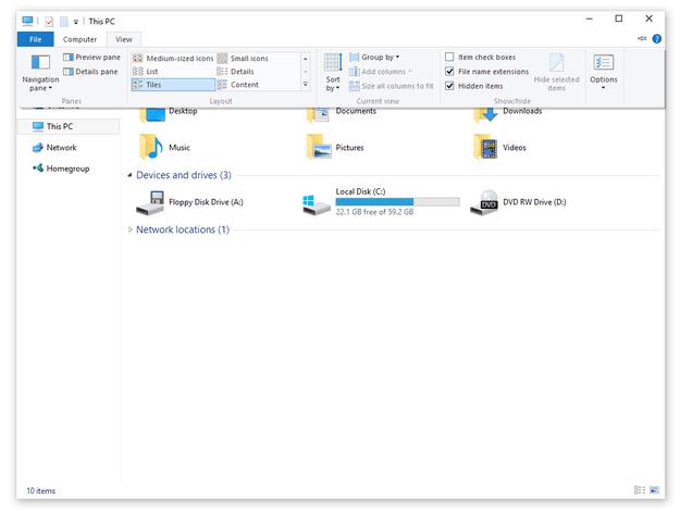 cách hiện thị định dạng file trong window
