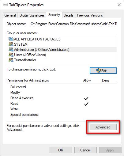 Trên cửa sổ Properties, click chọn Advanced