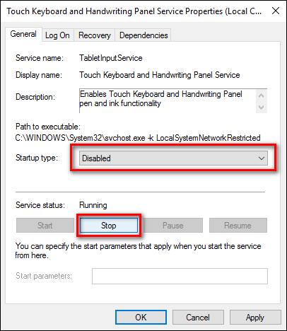 click chọn Stop để tắt Service đi