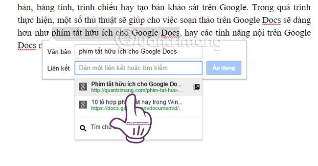 Cách chèn link trong văn bản Google Docs