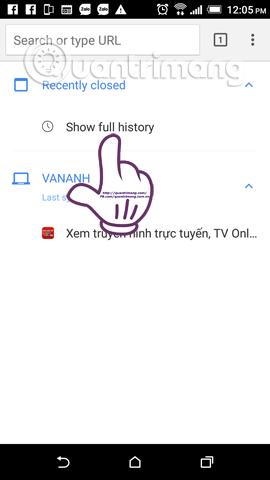 Cách khôi phục thẻ tab Google Chrome trên điện thoại