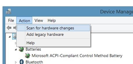 Select Scan for hardware changes