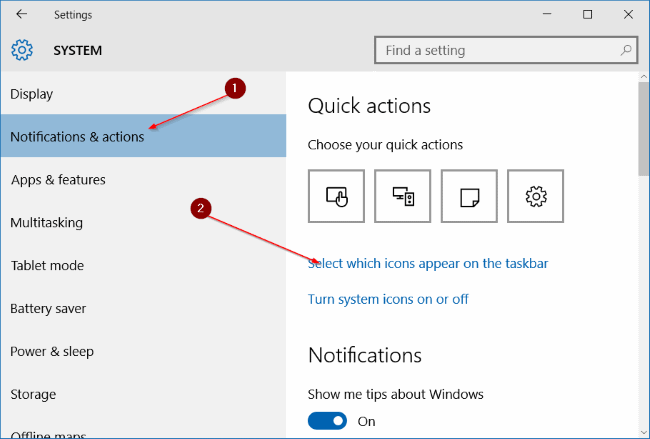 select link Select which icons appear on the taskbar