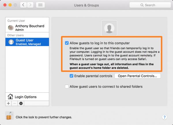 Hướng dẫn cách tạo tài khoản Guest trên Mac