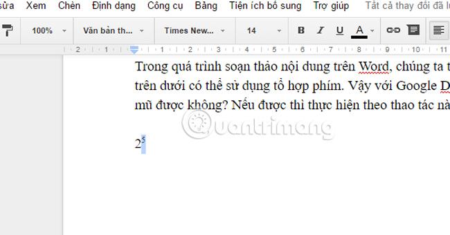Cách tạo dấu mũ trong Google Docs