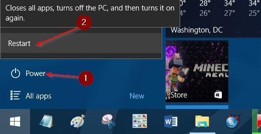 Nhấn và giữ phím Shift, sau đó click chọn Restart