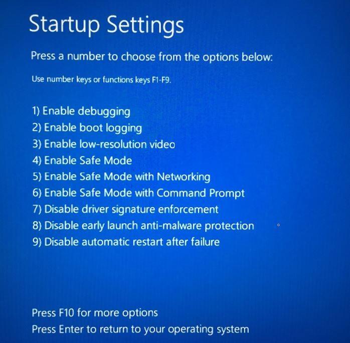 Nhấn phím F4 hoặc phím 4 để khởi động Windows 10 ở chế độ Safe Mode