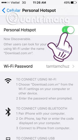 Hướng dẫn phát WiFi bằng iPhone/iPad
