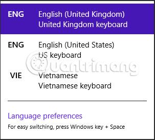 Cách chuyển đổi ngôn ngữ bàn phím Windows 8/8.1