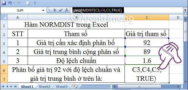 Cách sử dụng hàm NORMDIST trong Excel