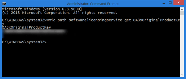 Tìm Product key bằng cách sử dụng Command Prompt