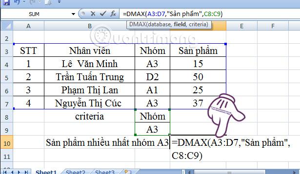 Hướng dẫn cách dùng hàm Dmax trong Excel
