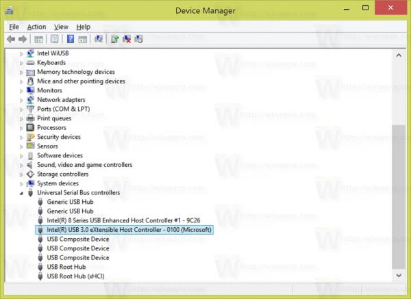 mở rộng mục USB Controllers node