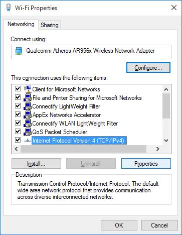 chọn Internet Protocol Version 4 (TCP/IPv4) rồi click chọn Properties